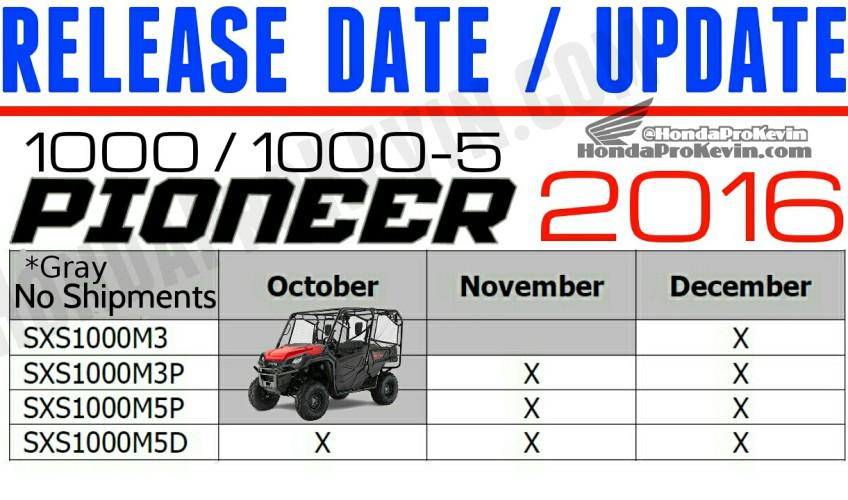 2016 Honda Pioneer 1000 Release Date Update / July 2015 - SXS - UTV - Side by Side ATV