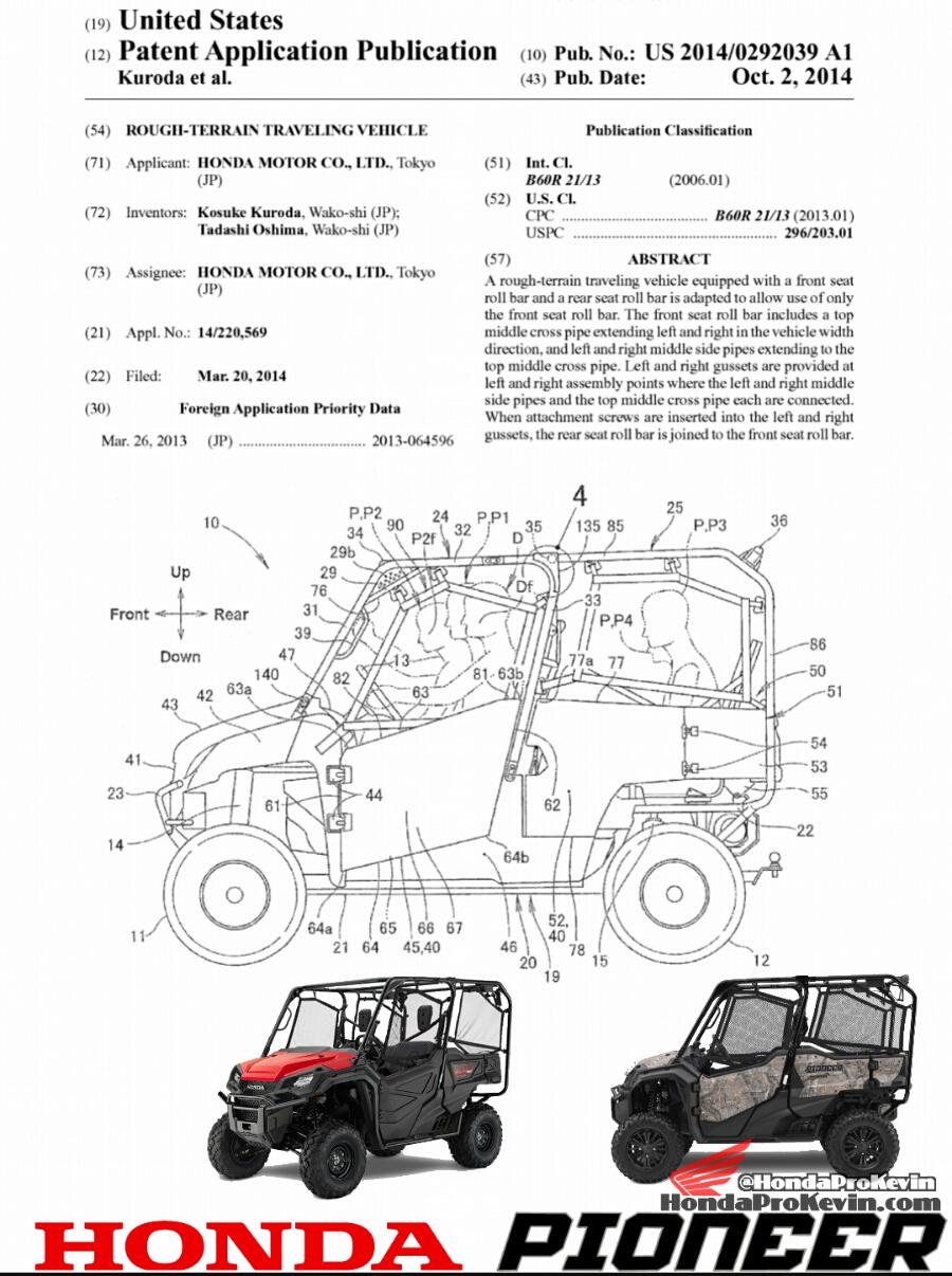Side By Side Utv >> 2016 Honda Pioneer 1000-5 SxS Patent Application Documents ...