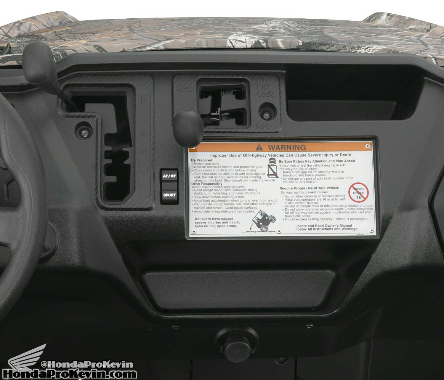 2016 Honda Pioneer 1000 Transmission / Drivetrain Controls - Locking Differential - 4x4 Modes
