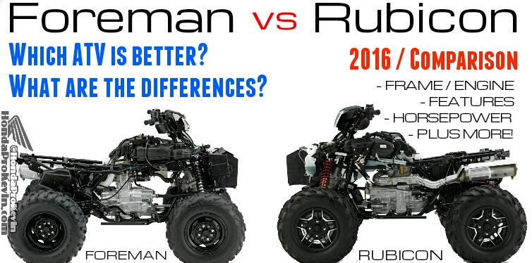 2016 Honda 500 Foreman vs Rubicon ATV Comparison Review of Specs & Features