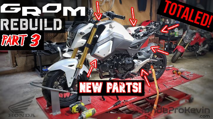 Wrecked Honda Grom 125 Motorcycle Rebuild Video Series | Part 3