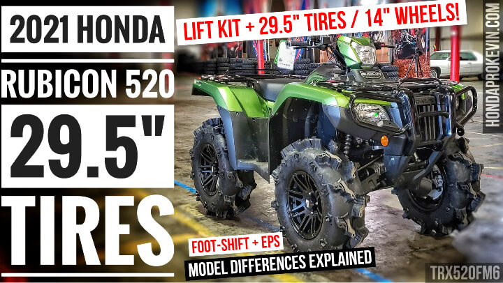 """2021 Honda Rubicon 520 ATV Review with 29.5"""" Mud Tires + Lift Kit + ITP 14"""" Wheels and more..."""