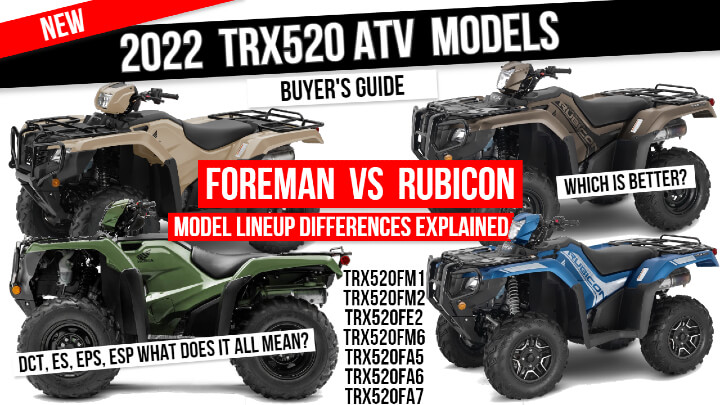 2022 Honda Foreman 520 VS Rubicon TRX520 ATV Differences Explained | Model Lineup Buyer's Guide / FourTrax