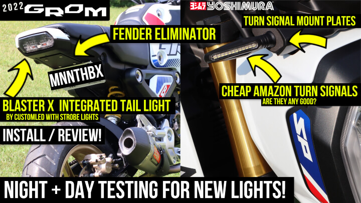 2022 Honda Grom Install / Review: MNNTHBX Fender Eliminator, Blaster X Integrated Tail Light, Cheap Amazon Turn Signals with Yoshimura Mounting Plates