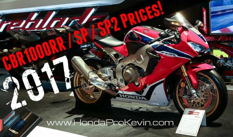 2017 Honda CBR1000RR / SP / SP2 Prices | MSRP Released - CBR Sport Bike / Motorcycle News